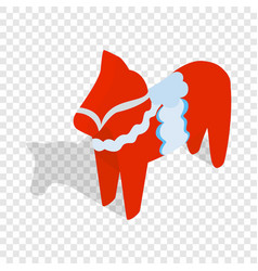 Red wooden horse isometric icon vector