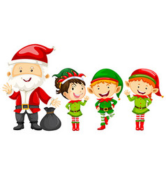 Santa and elves for christmas vector