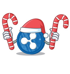 Santa with candy ripple coin character cartoon vector