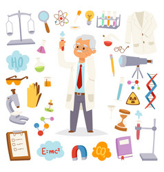 science man professor lab icons vector image vector image