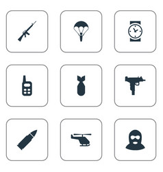 set of 9 simple military icons can be found such vector image
