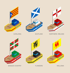 Set of isometric ships with flags of europe vector