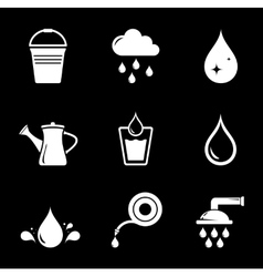 set white watering icons vector image vector image