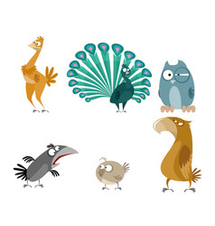 six birds set vector image