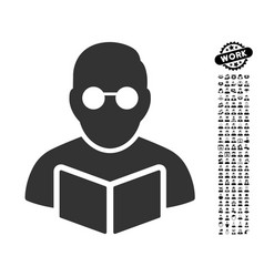 Student reading book icon with job bonus vector