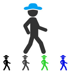 Walking gentleman flat icon vector