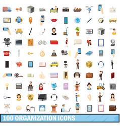 100 organization icons set cartoon style vector