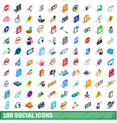 100 social icons set isometric 3d style vector image vector image
