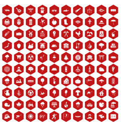 100 tree icons hexagon red vector