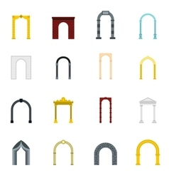 Arch icons set flat style vector