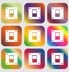 Power switch icon sign nine buttons with bright vector
