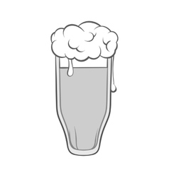 Tall glass of beer icon black monochrome style vector