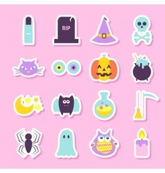 Trick or treat halloween stickers vector