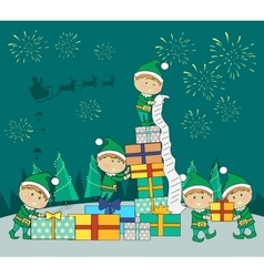 Christmas elves packing presents gift boxes vector