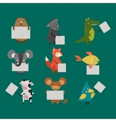 Wild animal zoo strike with clean plate board vector