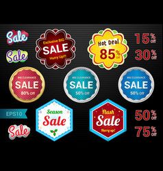 Set of retro promotion discount sale guarantee tag vector