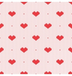 Seamless knitted pattern with hearts vector