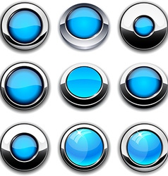 Aqua round buttons with chrome borders vector