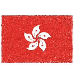 Hand drawn of flag of hong kong vector