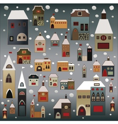 Winter country houses vector