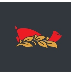 Red flag with a laurel branch sign vector