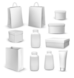 Big collection of shopping bags gift boxes plastic vector image