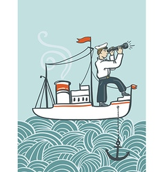 Hand drawn sea poster with ship waves and seaman vector