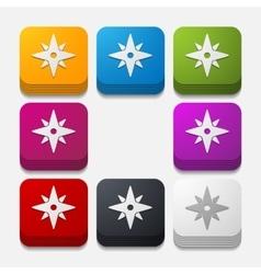 Square button compass vector