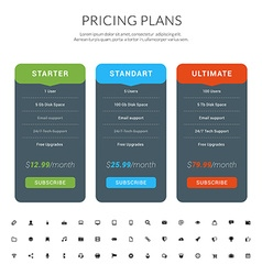 Design template for pricing table with icon set in vector