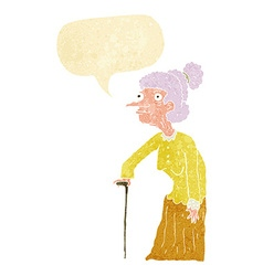 Cartoon old woman with speech bubble vector