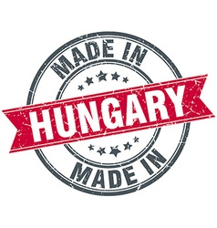 Made in hungary red round vintage stamp vector