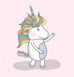 beautiful unicorn dancing with mane long vector image vector image