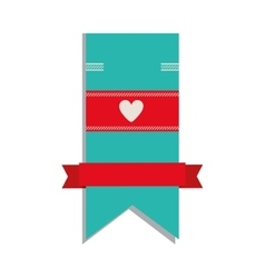 Blue label with heart icon vector