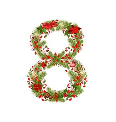 christmas floral tree number 8 vector image vector image