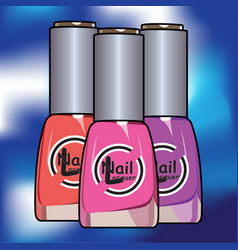 Colors nail lacquer bottles vector