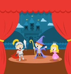 Cute Little Kids Theater Performance vector image vector image