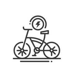 Electric bike - line design single isolated icon vector