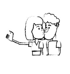 Figure couple kissing and taking selfie with vector