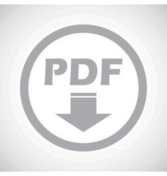 Grey pdf download sign icon vector