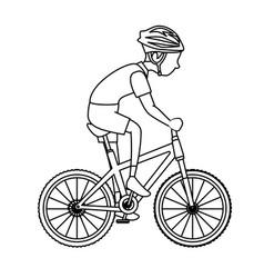 man riding bike icon vector image