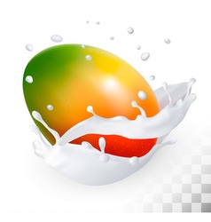Mango in a milk splash on a transparent background vector