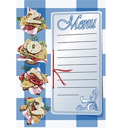 Menu and three canapes on blue napkin vector
