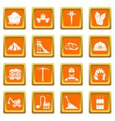 Miner icons set orange vector