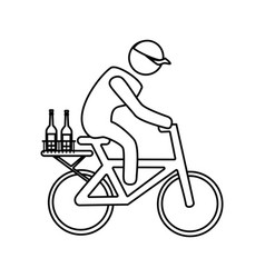 monochrome contour with delivery man in bike vector image