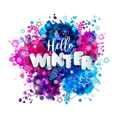 Signs hello winter in paper style on multicolor vector
