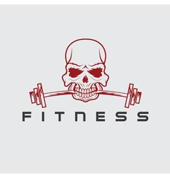 skull holding barbell in the teeth vector image vector image