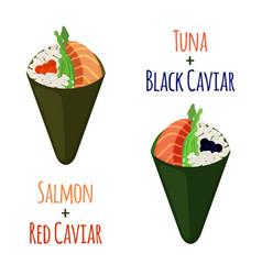 Temaki setsushi tuna salmon caviar rice nori vector