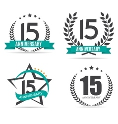 Template logo 15 years anniversary set vector
