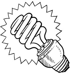 doodle light bulb green vector image