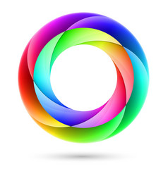 Colorful spiral ring on white background vector